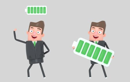 Business man charged battery. Isolated 3d illustration.