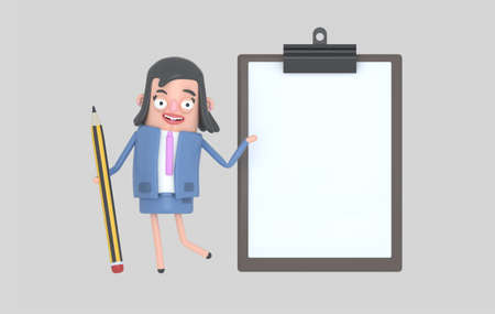 Businesswoman with a giant pencil next to a clipbIsolated. Easy automatic vectorization. Easy background remove. Easy color change. Easy combine. 6000x3800 - 300DPI For custom illustration contact me. Banco de Imagens