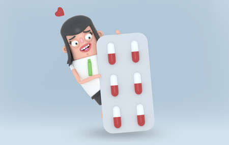 Woman is behind a pill blister with face in love, heart.3d illustration.
