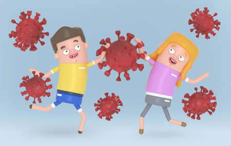 Innocent children playing with viruses covid-19.  3d illustration.