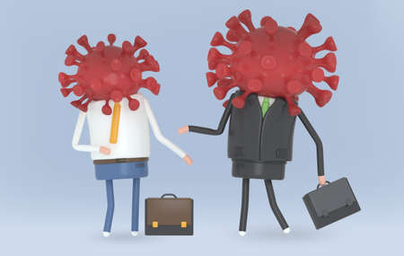 Business people infected by Covid-19. Covid19.  3d illustration. Stock fotó