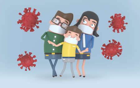 Family with medical masks feels protected against viruses covid-19. Isolated. 3d illustration.