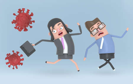 Scared business people run because this partner is contagious by virus. Covid19.  3d illustration.
