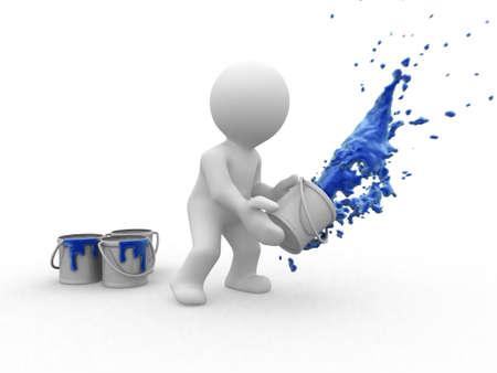 3d figure throwing paint
