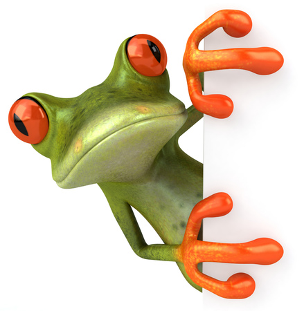 Frog with white card