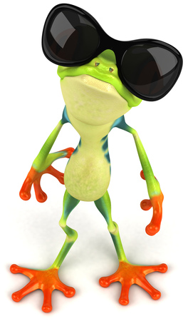 3d frog wearing shades