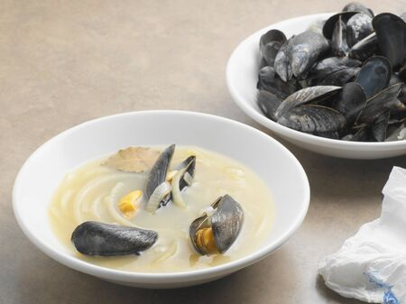 Mussels and sauce Stockfoto