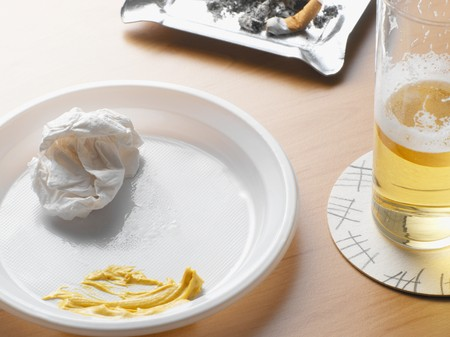 Leftovers on pub table
