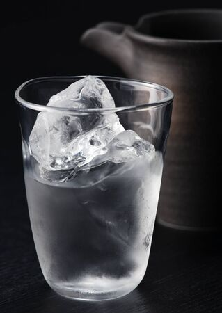 Ice cubes and water