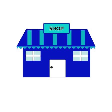 frontdoor: detailed  of a storefront blue. Illustration