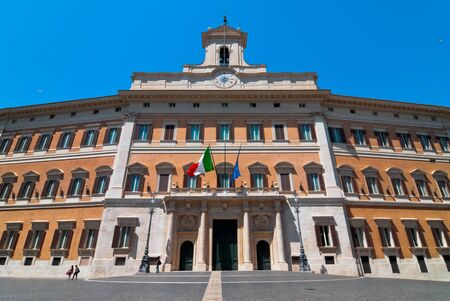 Facade of the Palace of Montecitorio in Rome in Italy