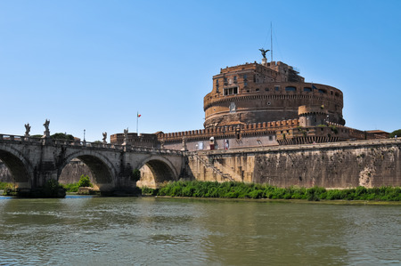 tevere: View of Castle St Angel in Rome in Italy from the Tiber River