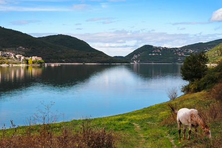 tora: View of Lake Turano in Italy in the autumn Stock Photo