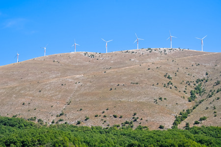 kinetic energy: A plant formed by the blades of the wind that produces renewable energy in Italy
