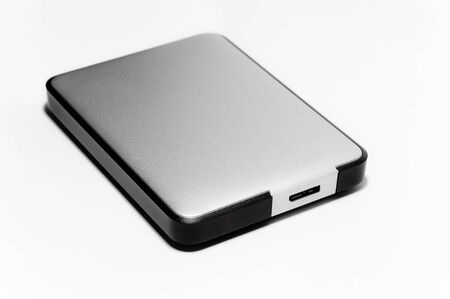 solid state drive: Close up of an external hard drive to your computer