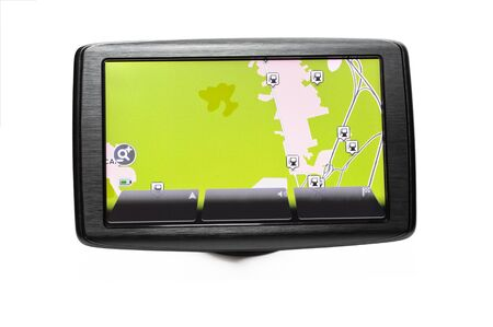 Close up of a GPS navigator with the road map on the screen Stock Photo