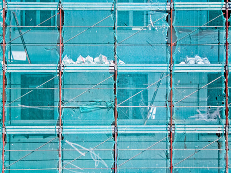 distemper: Scaffolding of a maintenance yard of a building Stock Photo