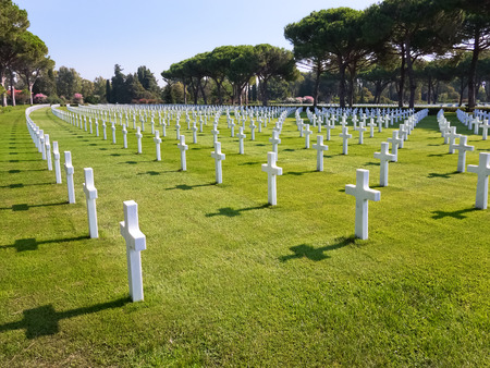 military cemetery: NETTUNO  August 17 2013  Tombs of the American Military Cemetery of Nettuno in Italy. Editorial