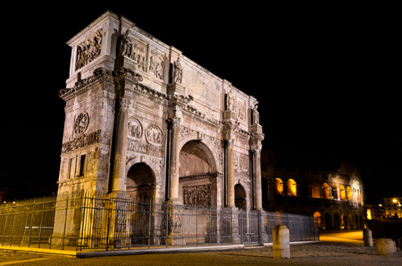 constantine: Perspective of the Arch of Constantine in Rome at night
