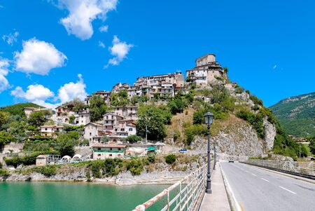tora: View of Castel di Tora on Lake Turano in Italy