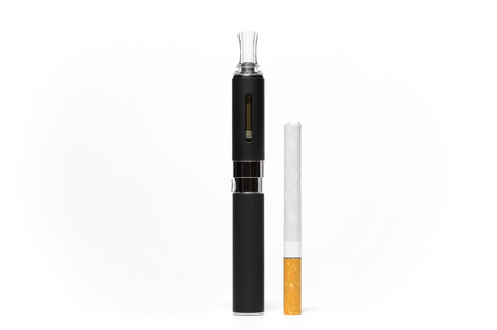 background e cigarette: Comparison between a conventional and an electronic cigarette Stock Photo