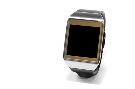 cut wrist: Smartwatch with black screen as the concept of portable technology Stock Photo