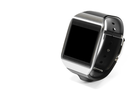 Smartwatch in perspective with black screen as the concept of portable technology Stock Photo