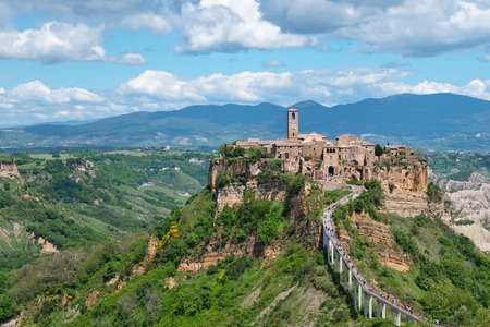 Close up of Civita di Bagnoreggio in Italy