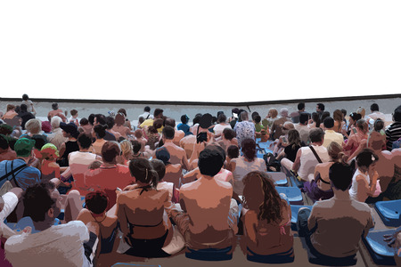 family discussion: Close up of an stilyzed audience with a personalizable white space in front Stock Photo