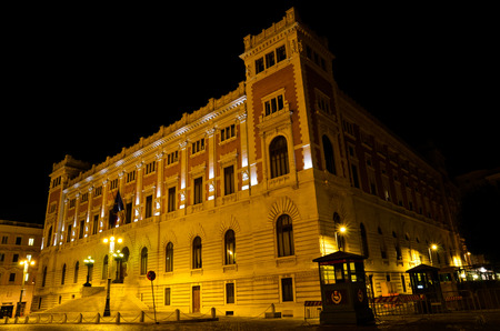 italian politics: Night shot of the Palace of the Italian Parliament in Rome