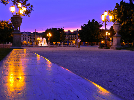 PADUA  September 14, 2010  View of the square Prato della Valle in Padua in the evening at sunset.