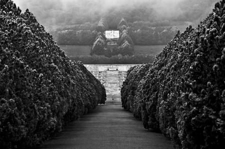 CASSINO  April 9, 2011  Glimpse in black and white of the main entrance of the Polish Military Cemetery at Cassino in Italy. Redactioneel