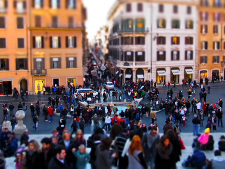 ROME  December 27, 2011  Tilt-Shift version of Piazza di Spagna in Rome crowded with tourists at Christmas time.
