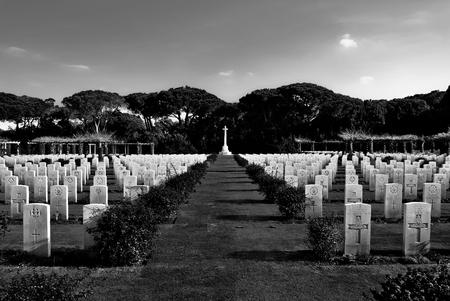 ANZIO  December 30, 2010  Glimpse of British Military Cemetery at Anzio in Italy.