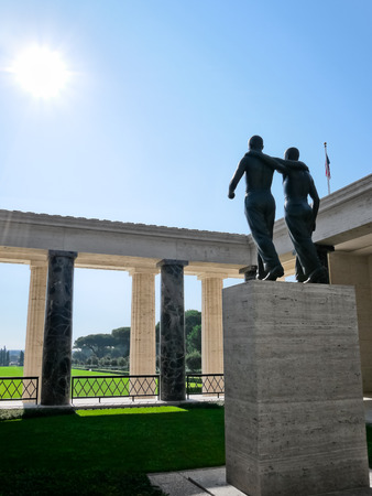 NETTUNO  August 17, 2013  Statue of the American Military Cemetery at Nettuno, Rome province, in Italy.