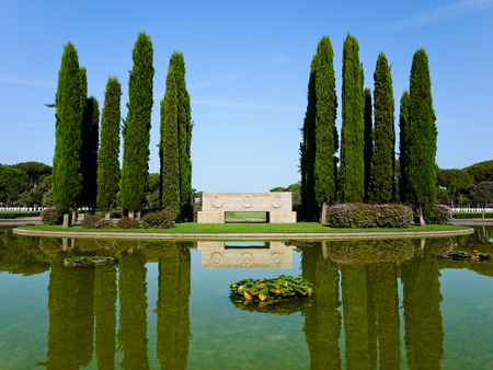 NETTUNO  August 17, 2013  Pond of the American Military Cemetery at Nettuno, Rome province, in Italy. Redactioneel