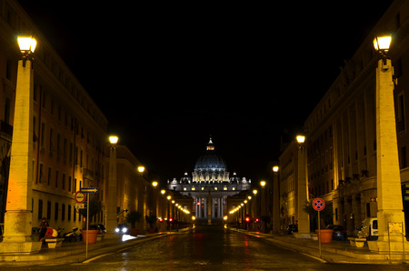 ROME  August 27, 2011  Glimpse of the Via della Conciliazione in Rome at night, the street leading to St. Peters Basilica in Vatican.