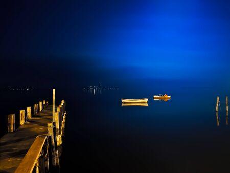 Night glimpse of Lake Massaciuccoli in Torre del Lago in Italy