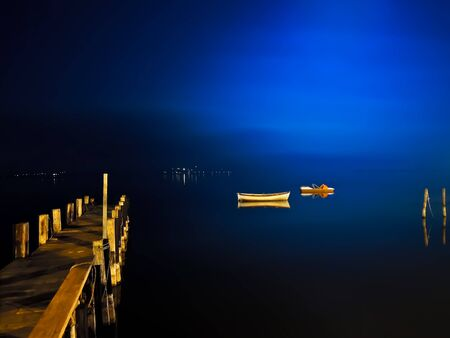 Night glimpse of Lake Massaciuccoli in Torre del Lago in Italy