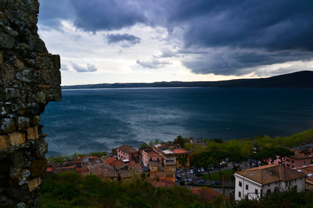 Top view of Trevignano Romano on Lake Bracciano in Italy while a storm is coming Stock Photo