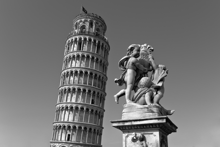 Isolated perspective of the Tower of Pisa in black and white