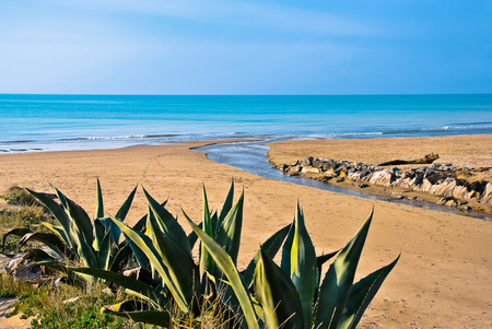 Winter view of the Sea of Torvaianica in Italy
