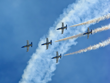 ROME  June 3 2012  The aerial acrobatics of the Breitling Jet Team in the event of the Rome International Air Show.