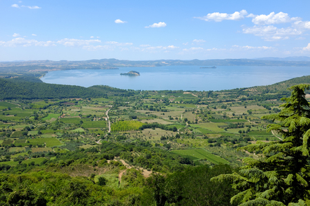 Panoramic view of the Lake Bolsena in Italy, near city of Viterbo, in the Natural Reserve of Tuscia