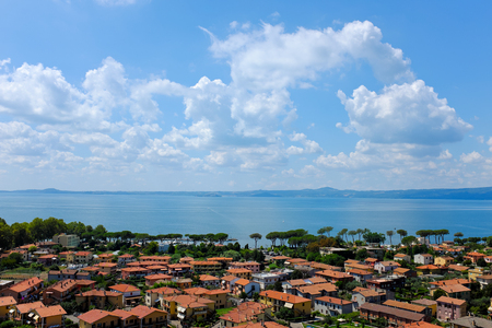 Overview of Bolsena, town on Lake Bolsena in Italy, by day in summer Stockfoto