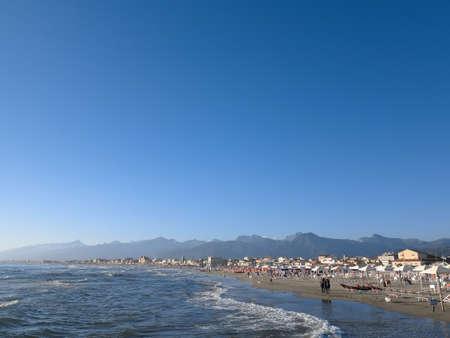 Summer view of the beach of Viareggio in Italy. Stockfoto