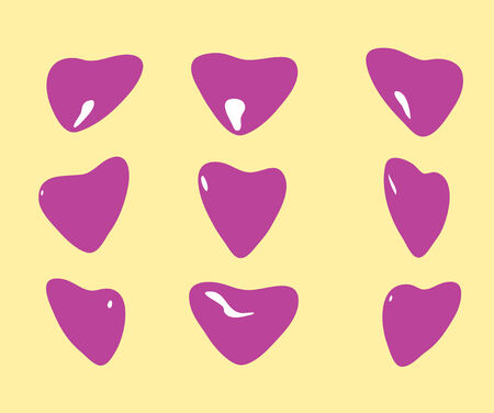 Set of hearts in different positions on a homogeneous background Vector