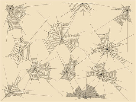 Set of realistic webs, black on a homogeneous background, on the layers, different types Vector