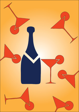 Champagne with a glass on a party or at restaurant Vector