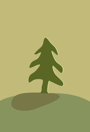 clearing: Green fur-tree on a pure clearing in wood on a hill Illustration